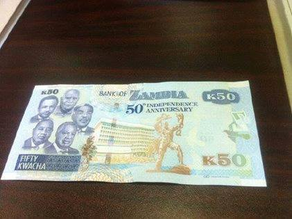 new Fifty Kwacha commemorative note bearing the portraits of the