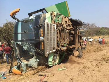Horrific Road Mishap As Lusaka Bound Peace Soldier Bus Overturns
